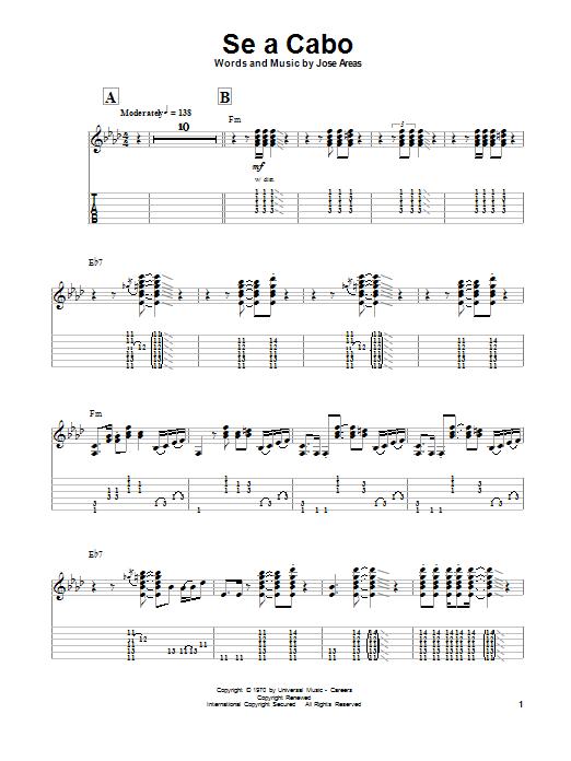 Santana Se A Cabo sheet music notes and chords. Download Printable PDF.