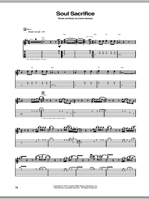 Santana Soul Sacrifice sheet music notes and chords. Download Printable PDF.