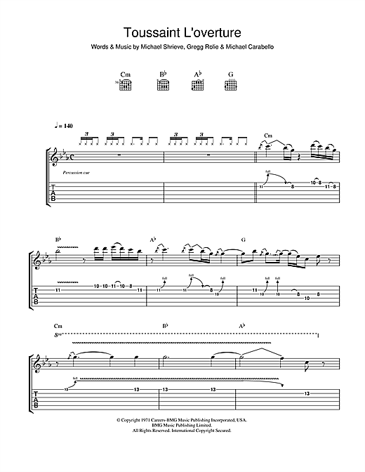 Santana Toussaint L'Overture sheet music notes and chords. Download Printable PDF.