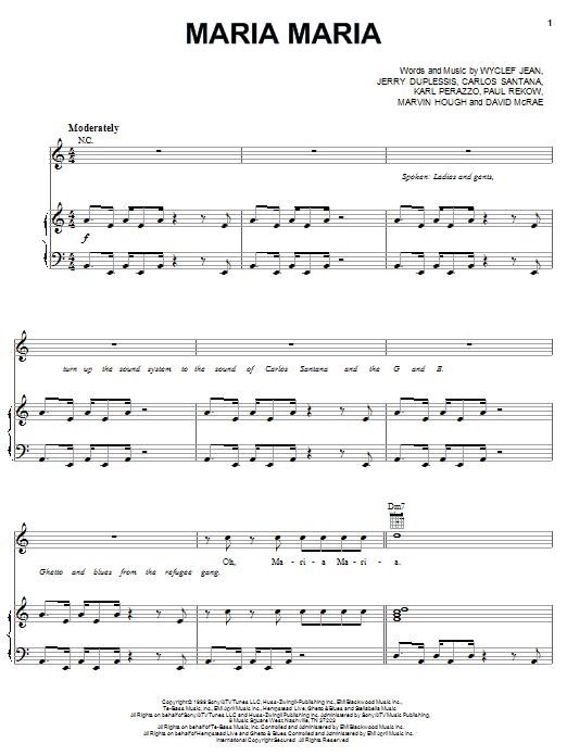Santana Maria Maria (feat. The Product G&B) sheet music notes and chords. Download Printable PDF.
