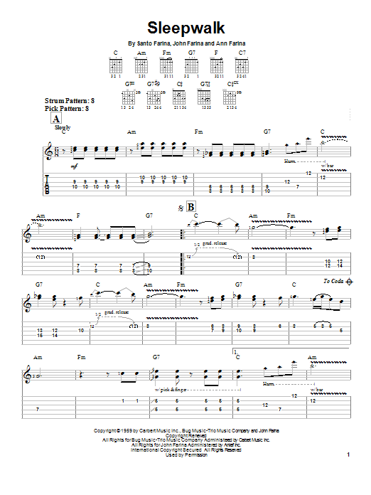Santo & Johnny Sleepwalk sheet music notes and chords