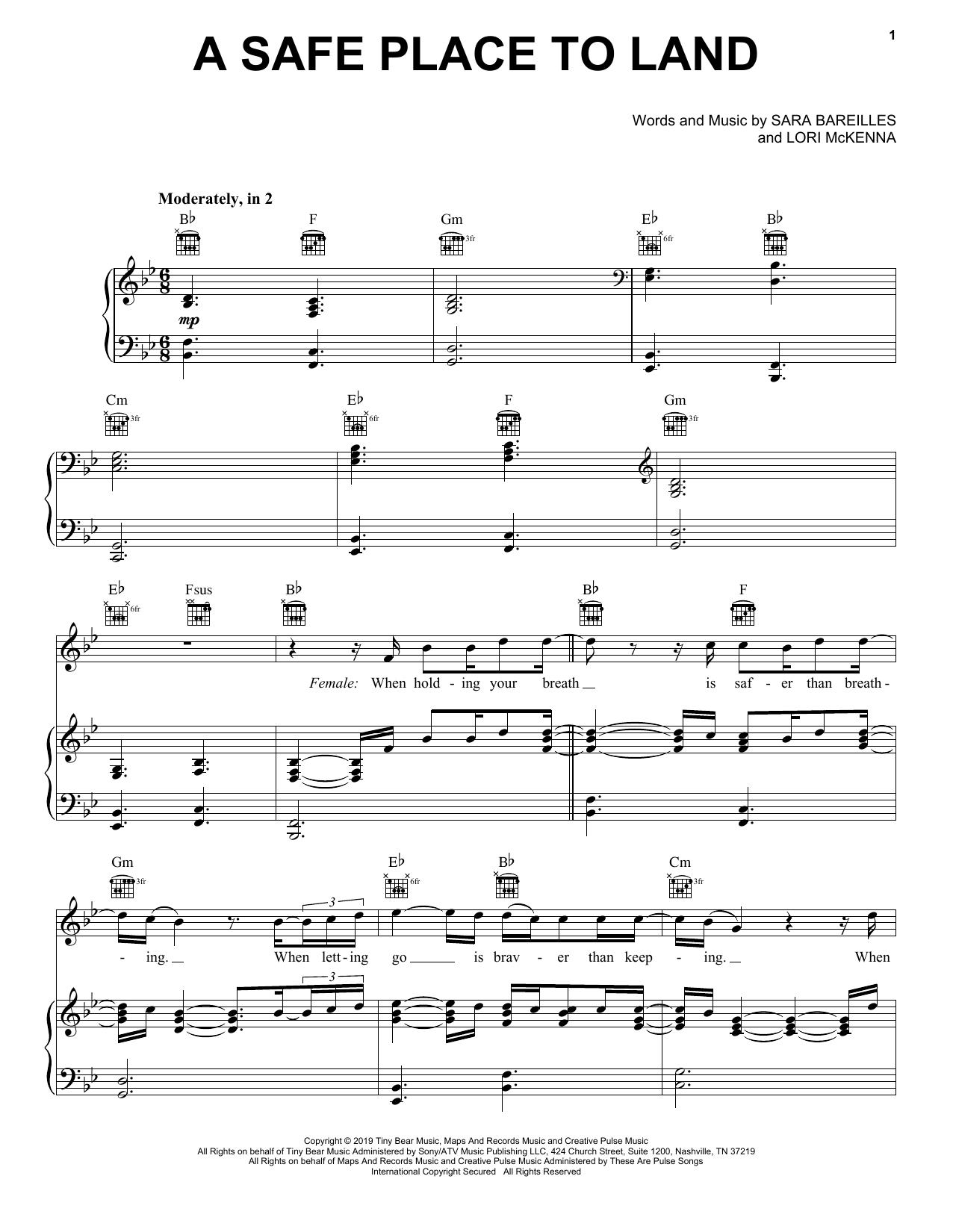 Sara Bareilles A Safe Place To Land (feat. John Legend) sheet music notes and chords