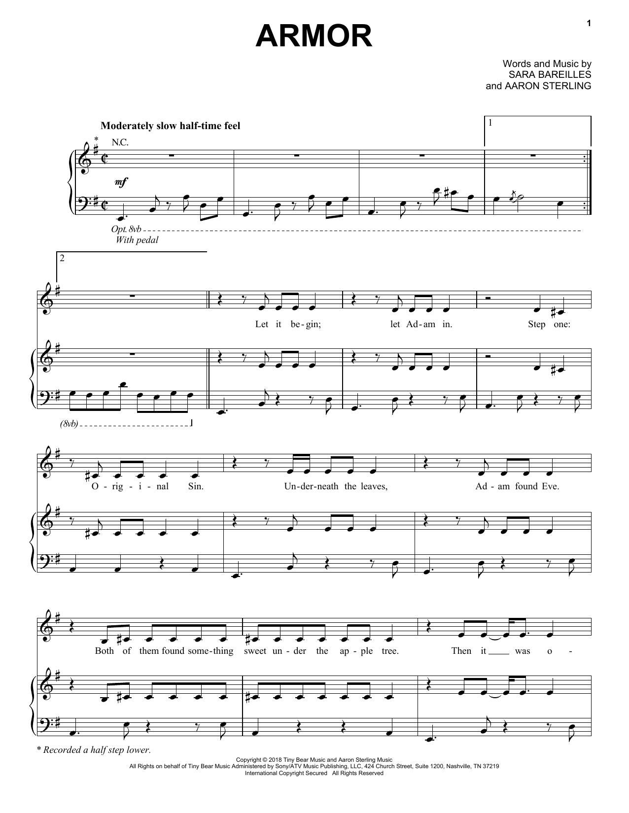 Sara Bareilles Armor sheet music notes and chords
