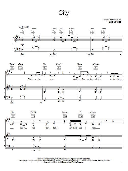 Sara Bareilles City sheet music notes and chords. Download Printable PDF.