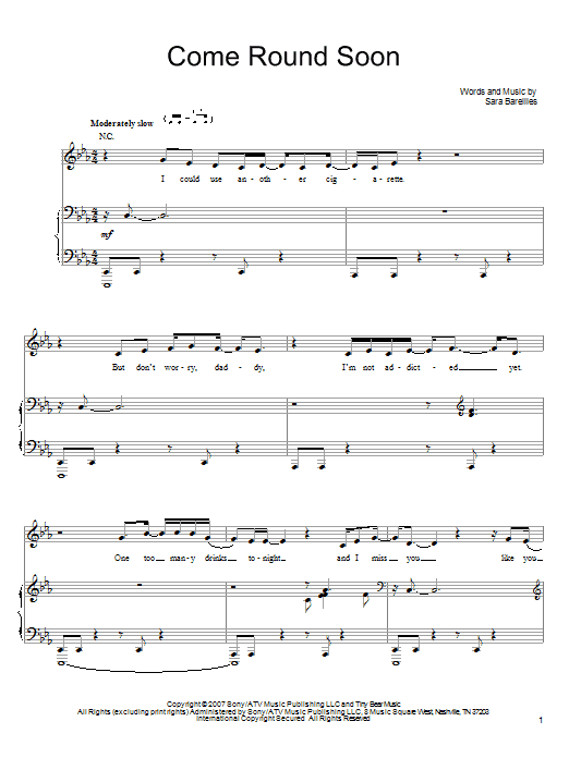 Sara Bareilles Come Round Soon sheet music notes and chords. Download Printable PDF.