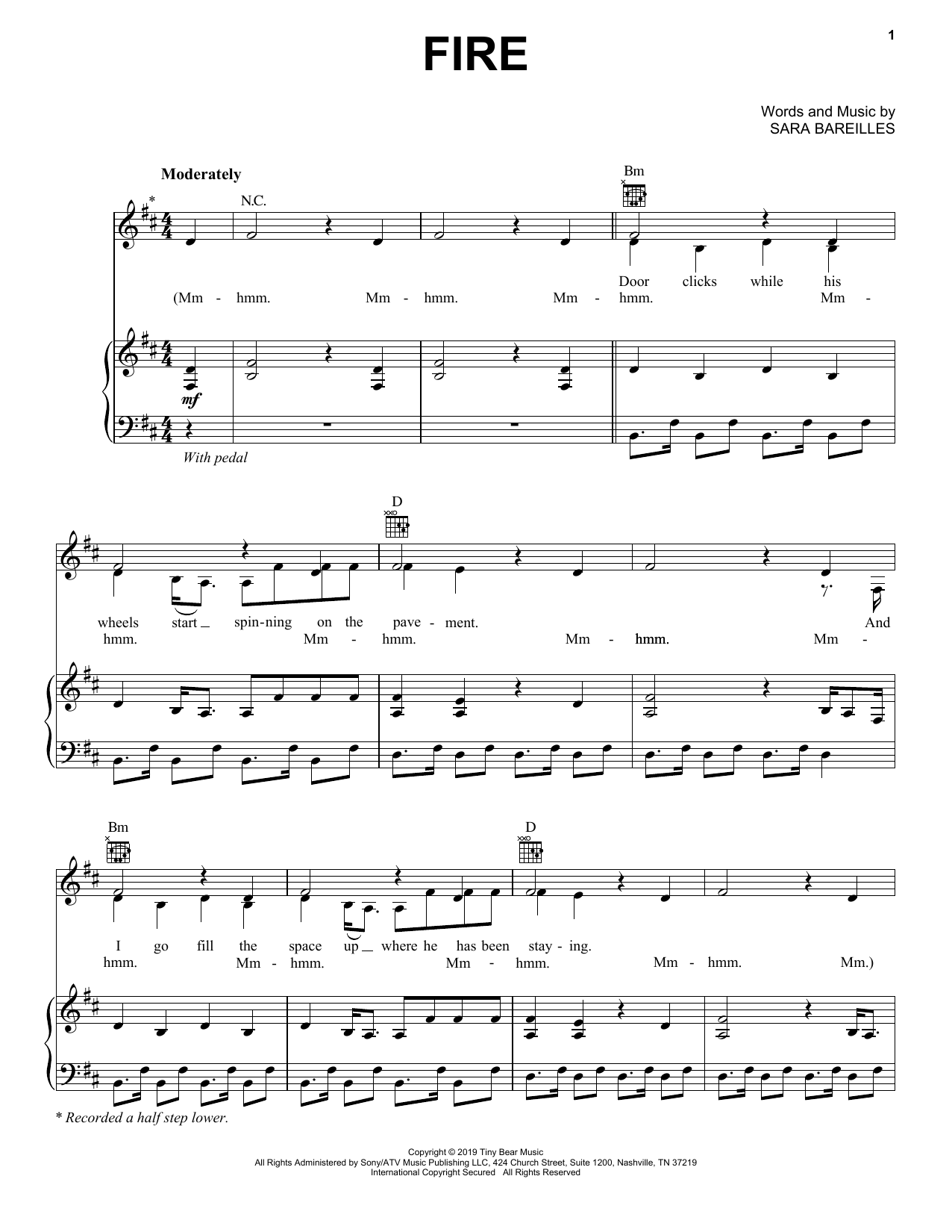 Sara Bareilles Fire sheet music notes and chords