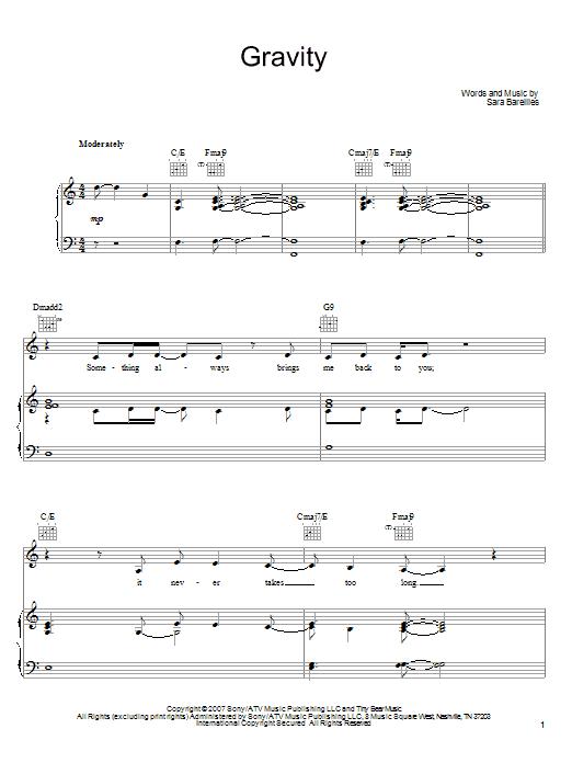Sara Bareilles Gravity sheet music notes and chords. Download Printable PDF.