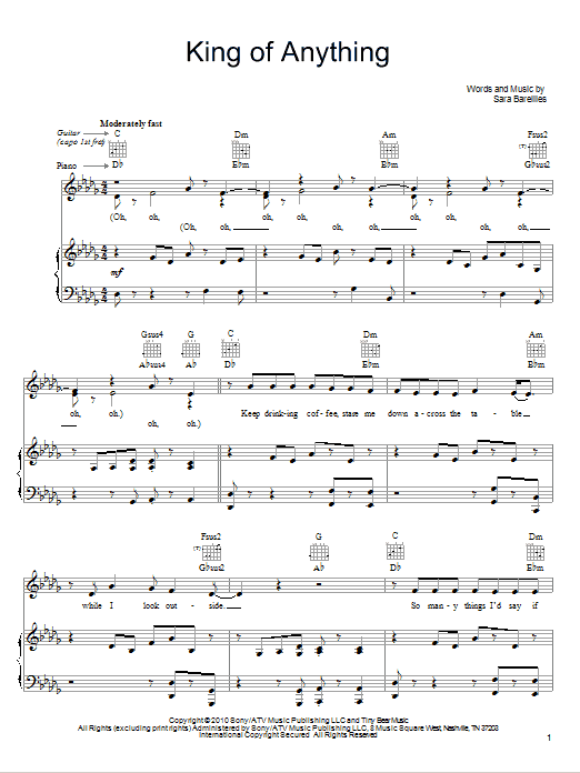 Sara Bareilles King Of Anything sheet music notes and chords