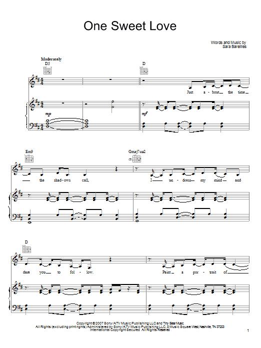 Sara Bareilles One Sweet Love sheet music notes and chords. Download Printable PDF.