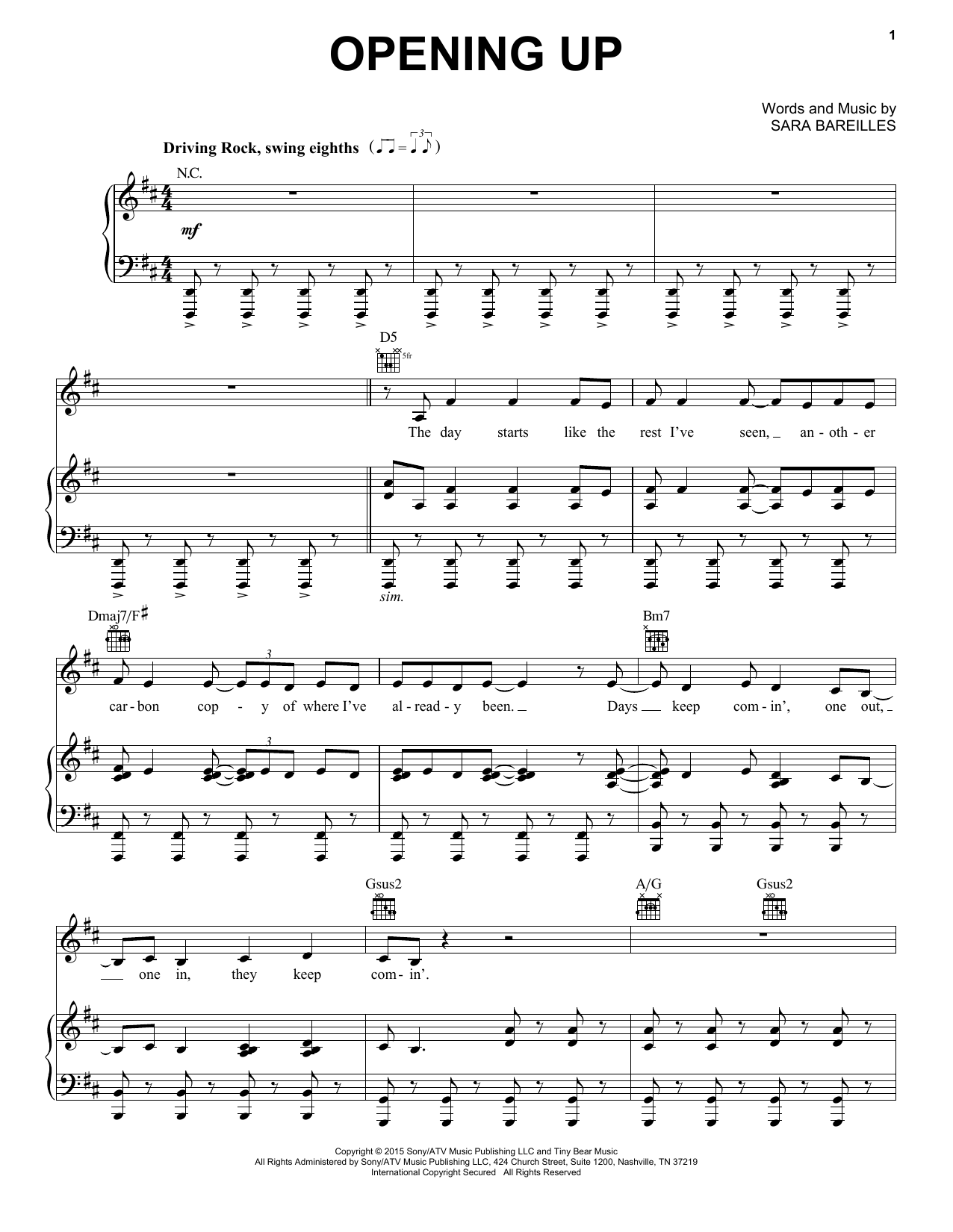 Sara Bareilles Opening Up (from Waitress The Musical) sheet music notes and chords. Download Printable PDF.