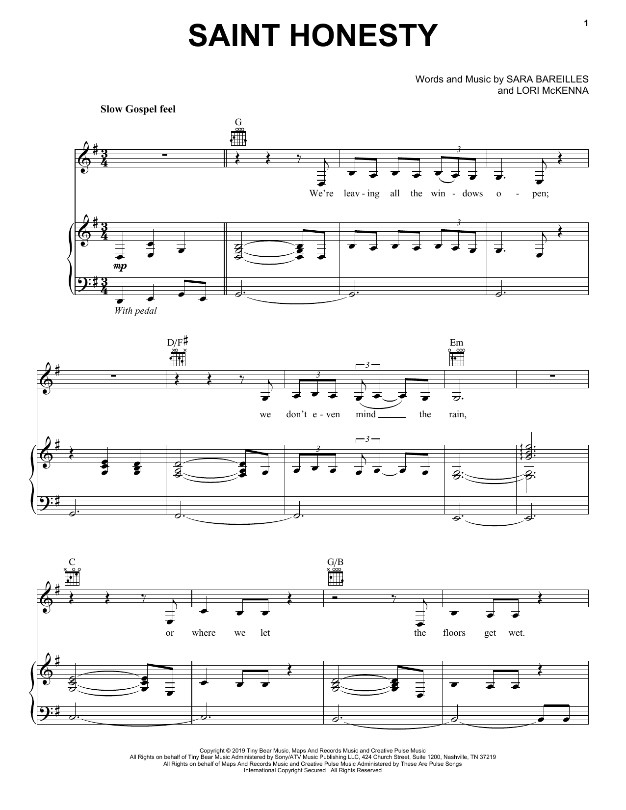 Sara Bareilles Saint Honesty sheet music notes and chords