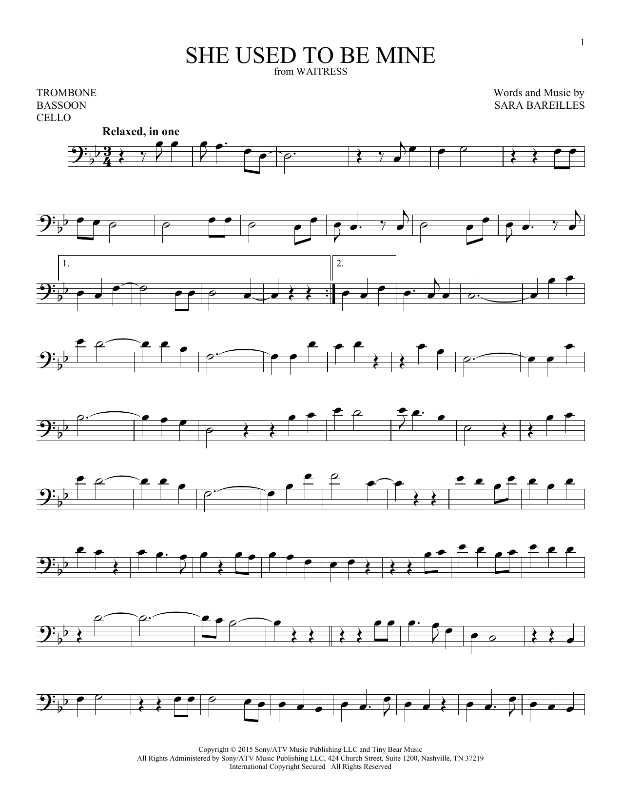 Sara Bareilles She Used To Be Mine (from Waitress) sheet music notes and chords. Download Printable PDF.