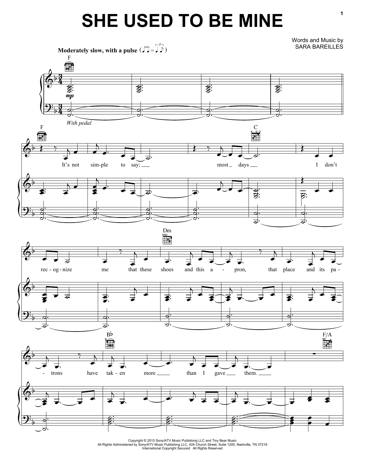 Sara Bareilles She Used To Be Mine (from Waitress The Musical) sheet music notes and chords. Download Printable PDF.