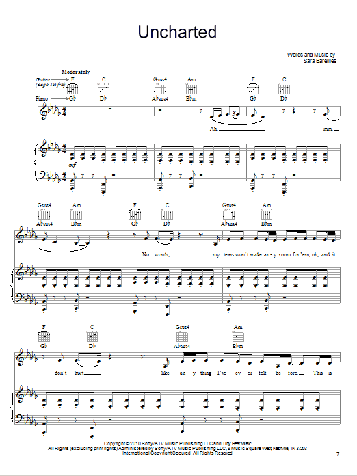 Sara Bareilles Uncharted sheet music notes and chords