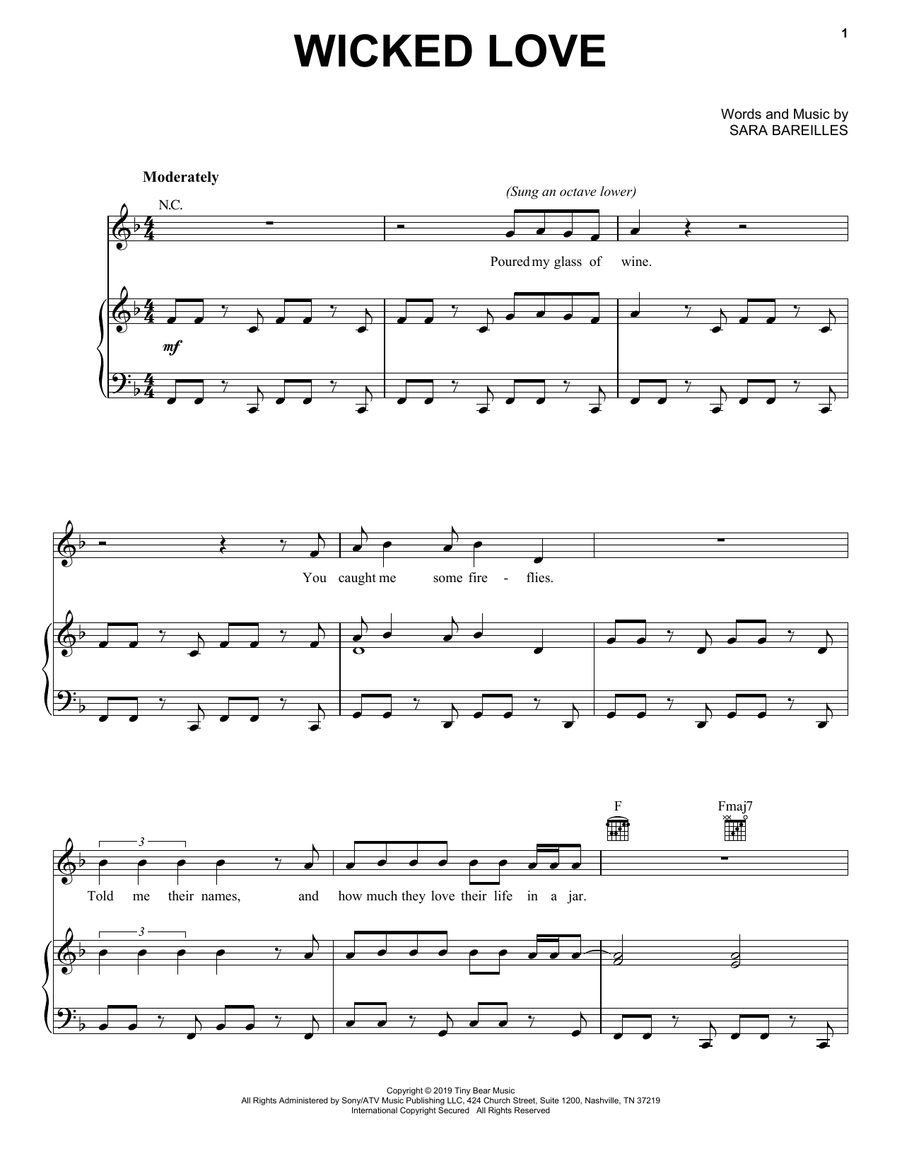 Sara Bareilles Wicked Love sheet music notes and chords