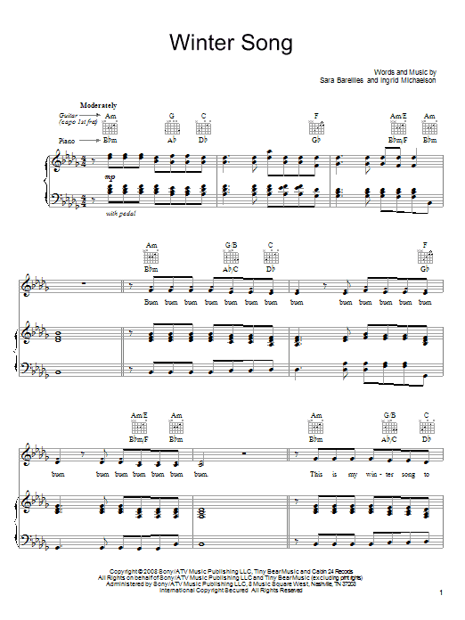 Sara Bareilles Winter Song sheet music notes and chords. Download Printable PDF.