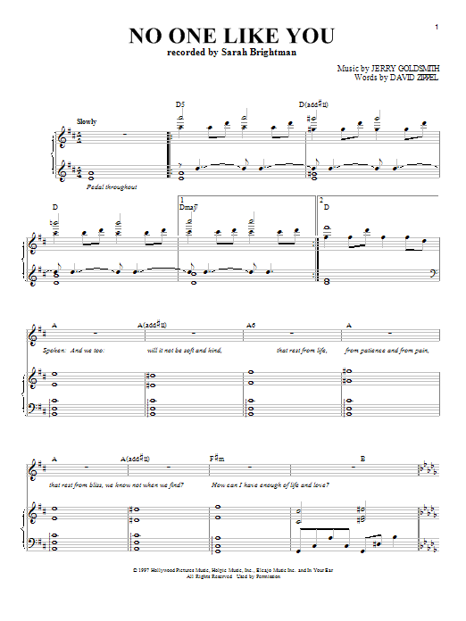 Sarah Brightman No One Like You sheet music notes and chords. Download Printable PDF.