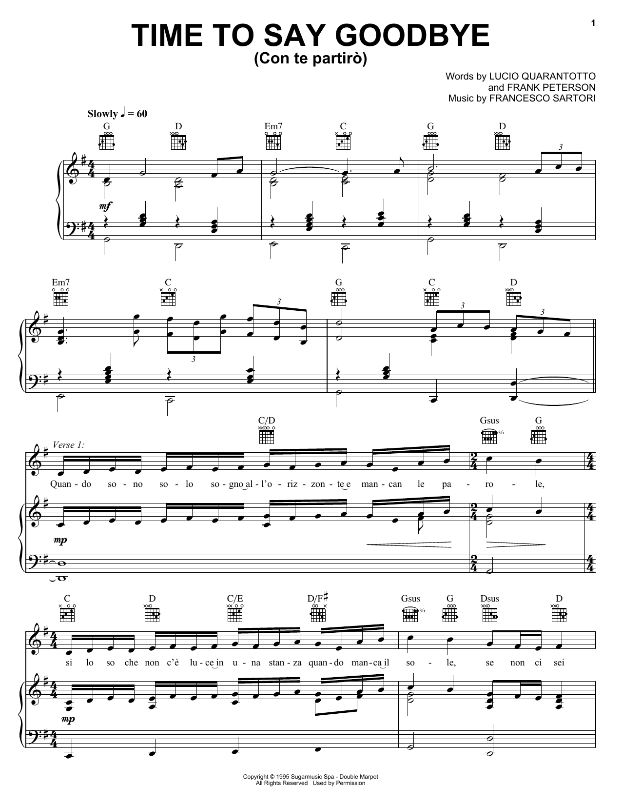 Andrea Bocelli & Sarah Brightman Time To Say Goodbye sheet music notes and chords. Download Printable PDF.