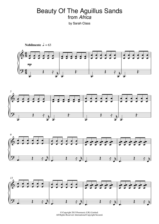 Sarah Class Beauty Of The Aguillus Sands (from 'Africa') sheet music notes and chords. Download Printable PDF.