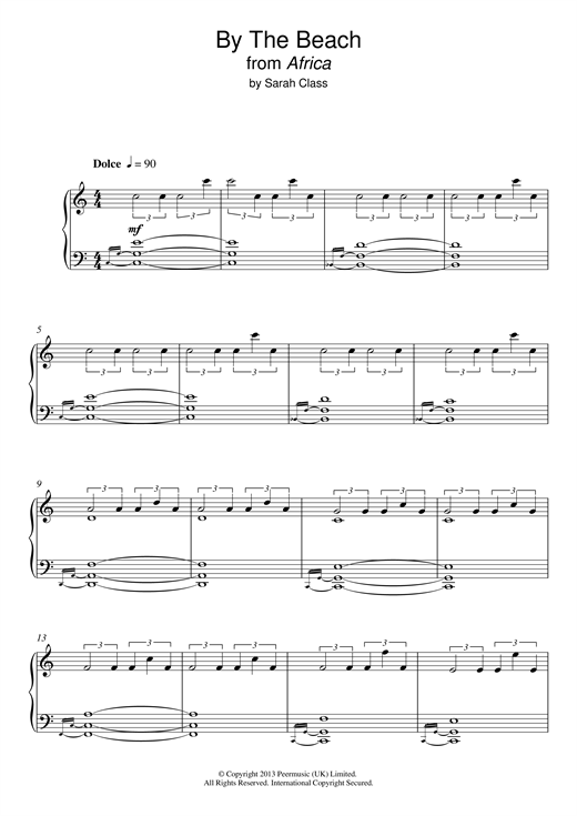 Sarah Class By The Beach (from 'Africa') sheet music notes and chords. Download Printable PDF.