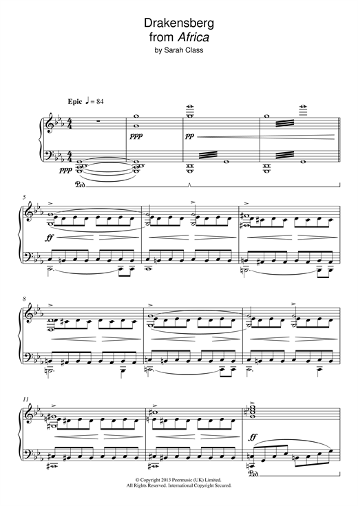 Sarah Class Draconsberg (from 'Africa') sheet music notes and chords. Download Printable PDF.