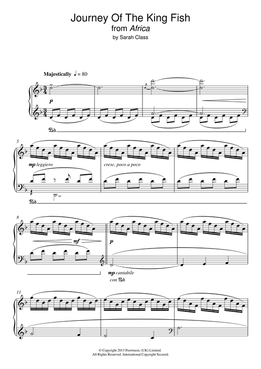 Sarah Class Journey Of The King Fish (from 'Africa') sheet music notes and chords. Download Printable PDF.