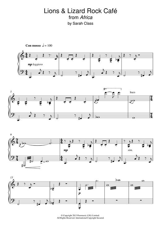 Sarah Class Lions & Lizards Rock Café (from 'Africa') sheet music notes and chords