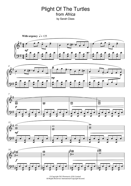 Sarah Class Plight Of The Turtles (from 'Africa') sheet music notes and chords. Download Printable PDF.
