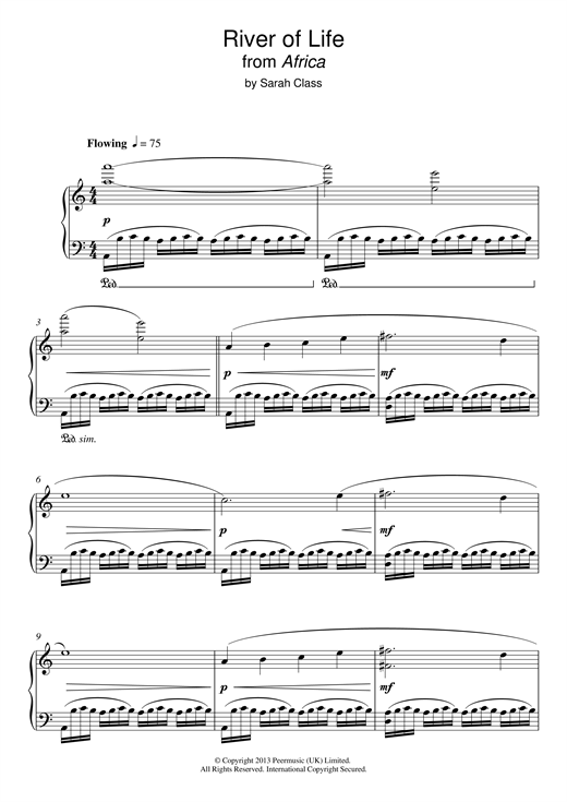 Sarah Class River Of Life (from 'Africa') sheet music notes and chords. Download Printable PDF.