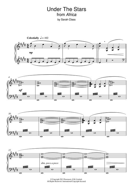 Sarah Class Under The Stars (from 'Africa') sheet music notes and chords