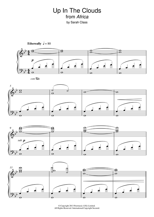 Sarah Class Up In The Clouds (from 'Africa') sheet music notes and chords. Download Printable PDF.