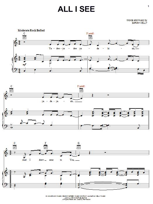 Sarah Kelly All I See sheet music notes and chords. Download Printable PDF.