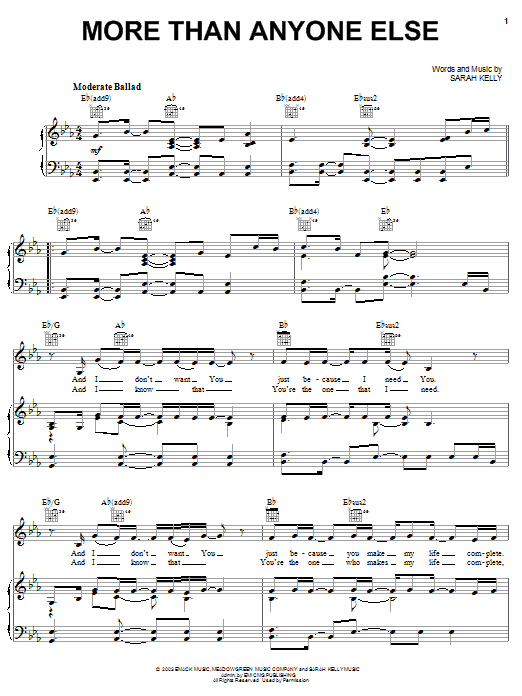 Sarah Kelly More Than Anyone Else sheet music notes and chords. Download Printable PDF.
