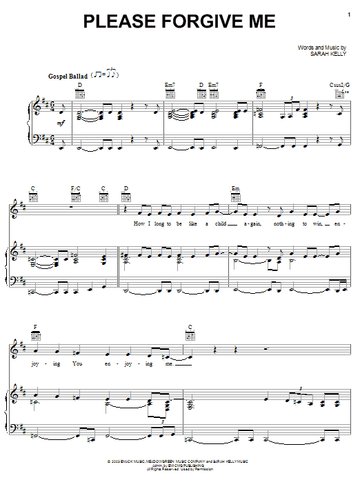 Sarah Kelly Please Forgive Me sheet music notes and chords. Download Printable PDF.
