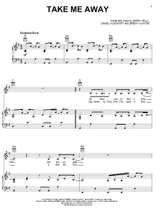 Sarah Kelly Take Me Away sheet music notes and chords. Download Printable PDF.