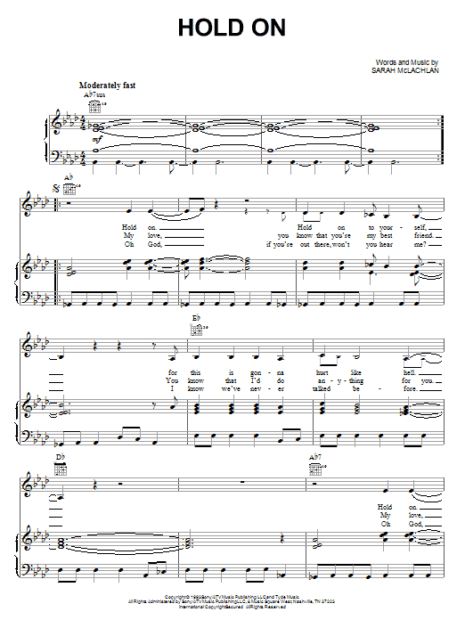 Sarah McLachlan Hold On sheet music notes and chords. Download Printable PDF.