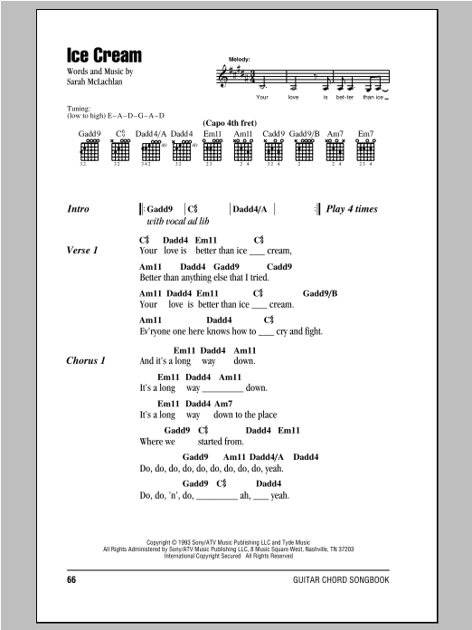 Sarah McLachlan Ice Cream sheet music notes and chords