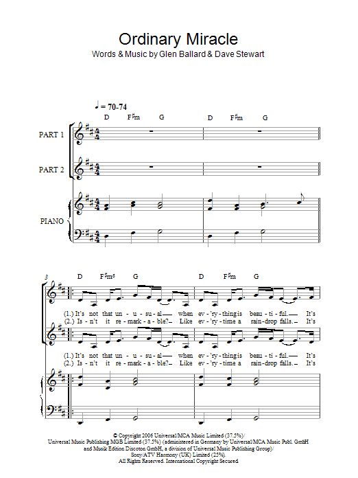 Sarah McLachlan Ordinary Miracle (from Charlotte's Web) sheet music notes and chords. Download Printable PDF.