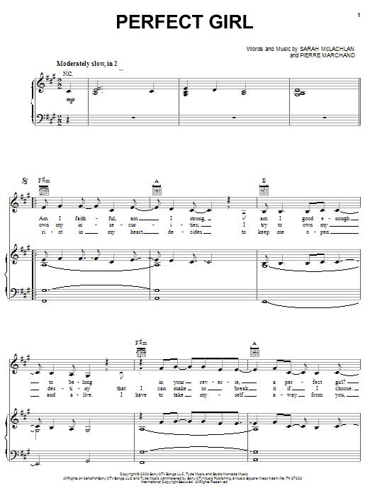 Sarah McLachlan Perfect Girl sheet music notes and chords. Download Printable PDF.