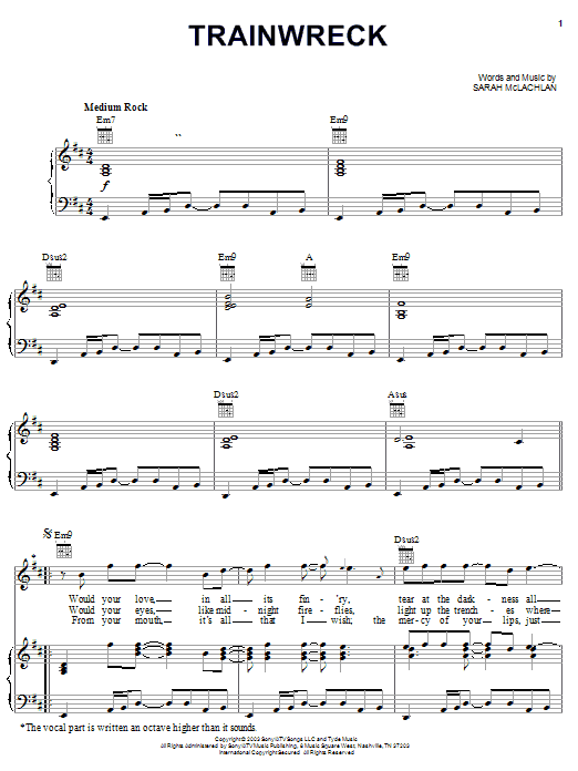 Sarah McLachlan Train Wreck sheet music notes and chords. Download Printable PDF.