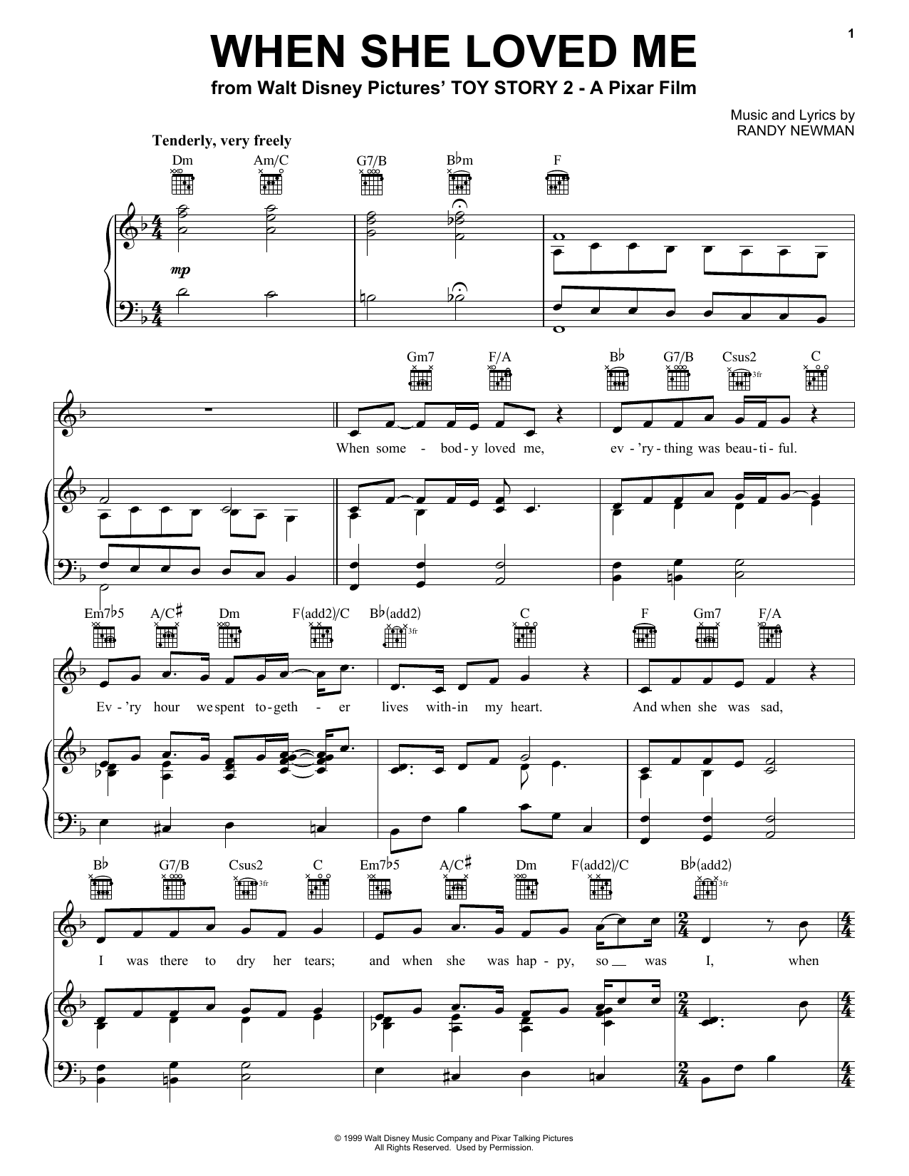 Sarah McLachlan When She Loved Me (from Toy Story 2) sheet music notes and chords. Download Printable PDF.