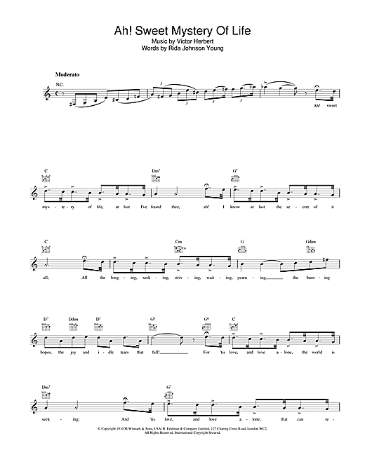 Sarah Vaughan Ah! Sweet Mystery Of Life sheet music notes and chords. Download Printable PDF.