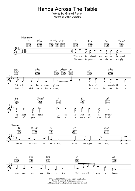 Sarah Vaughan Hands Across The Table sheet music notes and chords. Download Printable PDF.