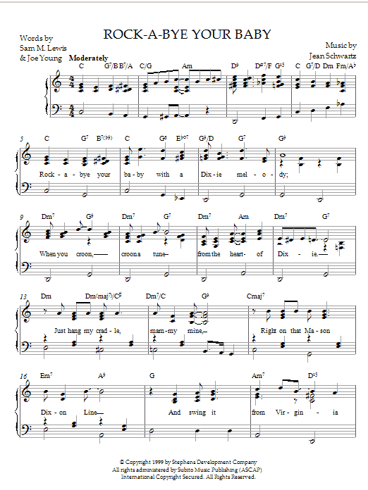Jean Schwartz Rock-A-Bye Your Baby With A Dixie Melody sheet music notes and chords. Download Printable PDF.