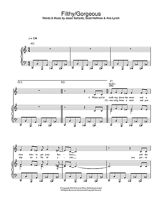 Scissor Sisters Filthy/Gorgeous sheet music notes and chords. Download Printable PDF.