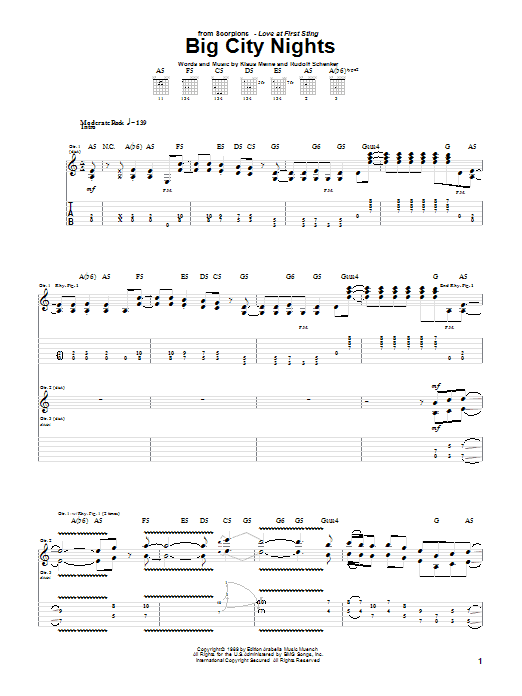 Scorpions Big City Nights sheet music notes and chords. Download Printable PDF.