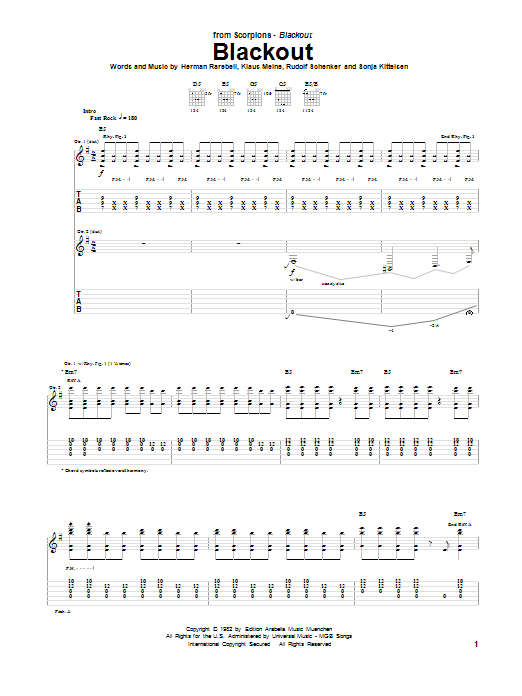 Scorpions Blackout sheet music notes and chords. Download Printable PDF.