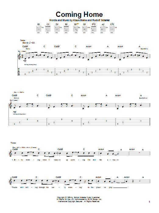 Scorpions Coming Home sheet music notes and chords. Download Printable PDF.