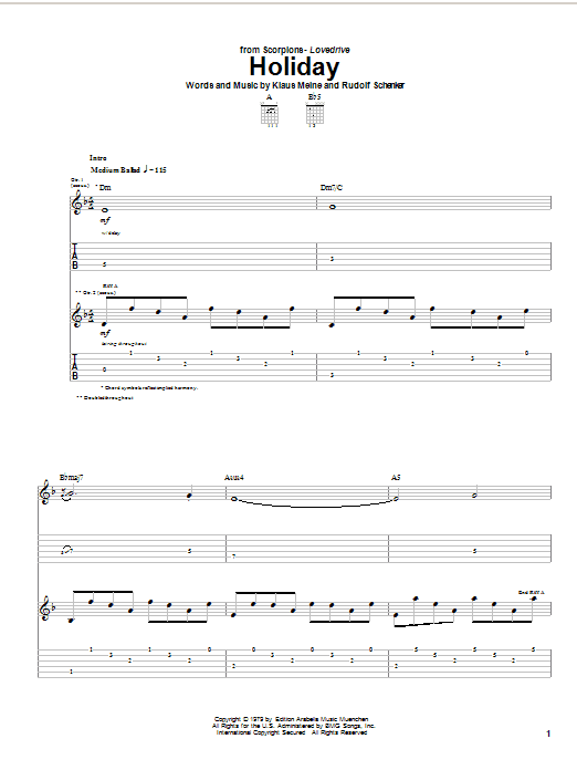 Scorpions Holiday sheet music notes and chords. Download Printable PDF.