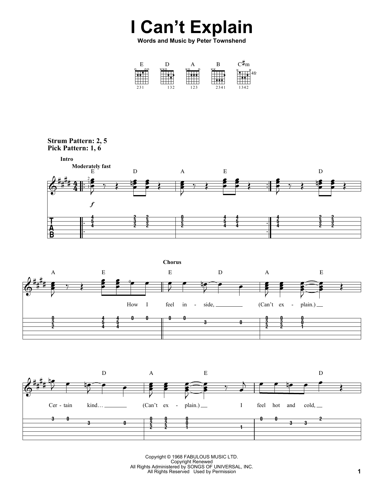 Scorpions I Can't Explain sheet music notes and chords. Download Printable PDF.